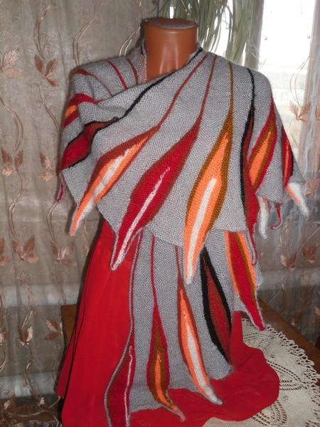 Вязание шаль дым костра