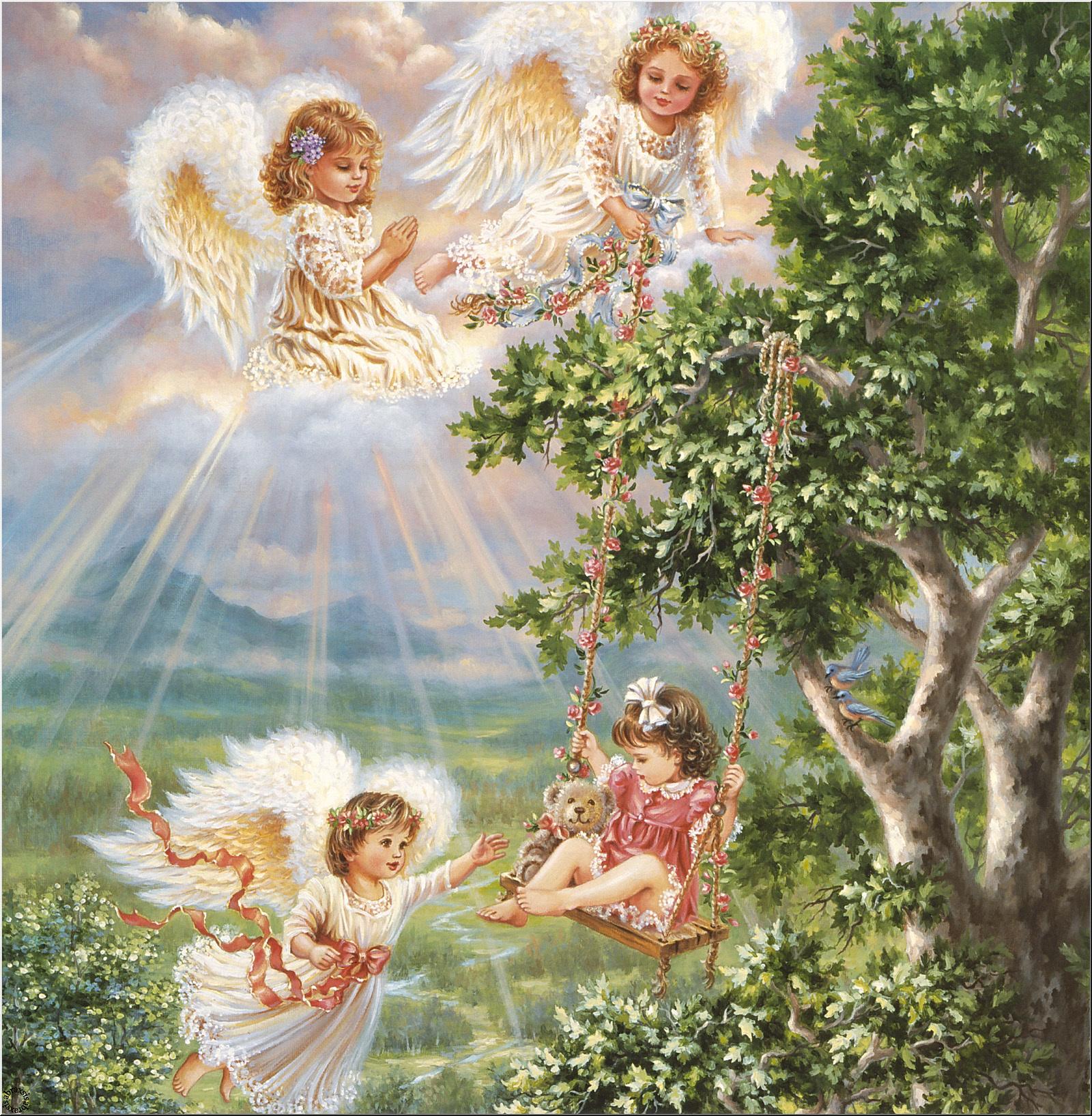 Открытки с ангелочками в день рождения