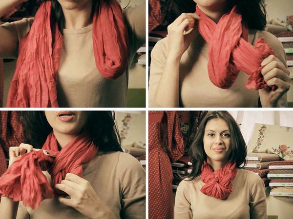 Способы завязывания больших платков на шее фото